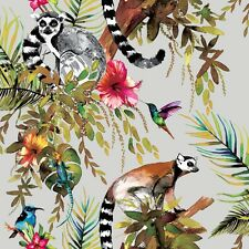 Multi Birds Lemur and Exotic Animals Wallpaper on Silver by Holden 12401