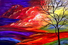 large oil painting on canvas, Abstract Landscape Painting,Handmade Painting