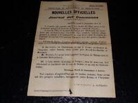 [Guerre 14-18 WW1] Rara Manifesto Journal Ufficiale Dei - 21 Sept 1914 55x38