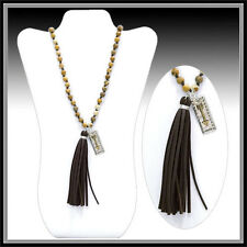 LONG GENUINE PICTURE JASPER STONE BEADS LEATHER TASSEL NECKLACE ARROW PENDANT