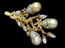 STUNNING 4.92CT & Pearl Diamond Pin/Brooch 18K gold 3.5x2.5""