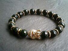 Mens Womens 18kt Gold & Crystal Buddha Gemstone Beaded Bracelet Chakra Yoga UK