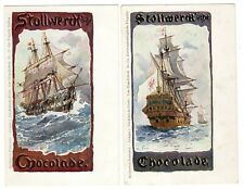 POSTCARDS (2) GERMAN STOLLWERCK CHOCOLATE HISTORIC SHIPS (0219)