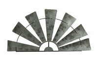 Scratch & Dent Large Distressed Metal Half Moon Windmill Wall Sculpture