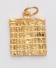 Gold Bingo Card Good Luck Necklace Pendant or Charm 24k yellow Gold plated GIFT