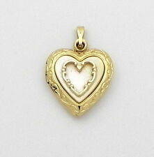 10K Yellow Gold Heart Locket Charm Pendant Mother Of Pearl 22x20mm  #68g