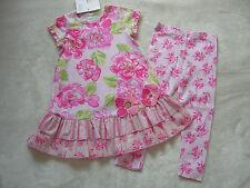 "NWT BABY LULU ""Japanese Garden"" Pink Green Dress & Leggings Set 3T 3 GORGEOUS"