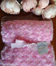 Baby Girl Soft Deluxe Rosebud Blanket 100x75cm,Fleece Lined,Christening/Gift