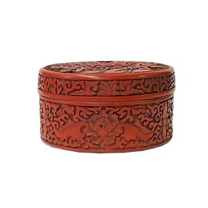 Chinese Red Resin Lacquer Round Flowers Carving Accent Box ws1494