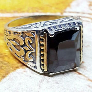 925 Sterling Silver Blue Black Onyx Gemstone Statement Boys Mens Ring Jewelry