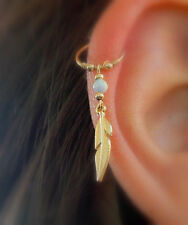 gold filled cartilage helix feather opal piercing