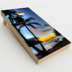 Skin Decal for Cornhole Game Board 2xpcs. / Paradise Sunset Palm Trees