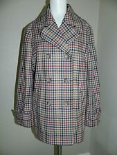 NEW Lands End Women Multi Color Plaid Double Breasted Pea Coat sz 12 $199.00