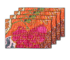 Mats Table Orange Kantha Table Mats Tableware Placemats Place Kitchen Dining