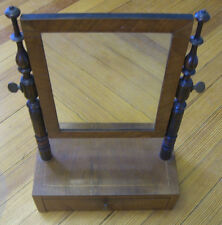 Antique Tabletop Vanity Mirror with turned Mahogany stands & veneer inlay c.1890