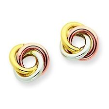 14K Yellow White & Rose Gold Polished Twisted Love Knot Stud Post Earrings