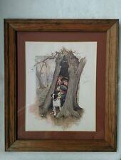 Vintage Framed An April Shower 1974 SCAFA TORNABENE Art publ co inc N.Y. wood $$