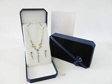 Luxury Blue Velvet Necklace Pendant Medal Box Case - 19cm - Space For Earrings