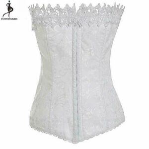 Females Crown Shaped Floral Corset Front Hooks Closure Polyester Elastic Bustier