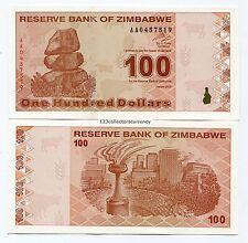 Zimbabwe $100 Dollar AA 2009 Super Rare P97 Banknote - last series issued