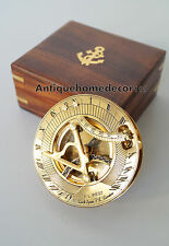 """VINTAGE 3"""" MARITIME SOLID BRASS SUNDIAL COMPASS NAUTICAL MARINE WITH WOODEN BOX"""