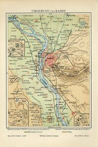 1895 EGYPT CAIRO CITY and PYRAMIDS of GIZA Antique Map dated