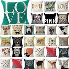 42# Cotton Linen Cushion Cover Bed Sofa Home Decor Letter Deer Skull Pillow Case