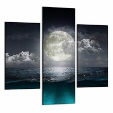 FRAMED Canvas Print Poster Art For Home Decor Big Moon Wall Art Painting-3pcs