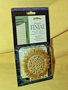 "FINIAL SUNFLOWER FLOWER ST CHARLES NEW 1999 GOLD COLOR 3"" 1 PR BRACKETS BLINDS*"