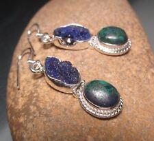 Sterling silver rough lapis lazuli/azurite-malachite earrings. Gift bag