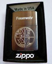 Zippo Feuerzeug mit Gravur Feuerwehr Logo Chrome brushed