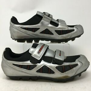 Diadora Cycling Sneakers Mens 12.5 Silver Leather Bike Shoes Low Top Hook & Loop