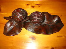ANTIQUE GERMAN BLACK FOREST WOOD WOODEN INKWELL INK POT NUTS LEAF TRAYS 19th