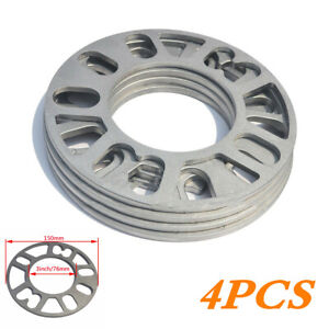 4PC Aluminum Wheel Spacers Adapters 5MM Thick 4/5 Studs Wheel Fixings Universal
