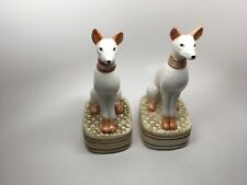Vintage Pair (2) Porcelain Greyhound/Whippet Egyptian Guard Dog Bookends