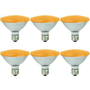 Sunlite 6Pk Amber LED PAR30 Reflector Light Bulb, 3W, Medium Base, Dimmable