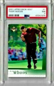2001 Upper Deck Golf Tiger Woods PSA 7 RC