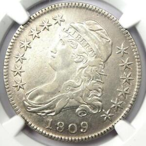 1809 Capped Bust Half Dollar 50C Coin - Certified NGC VF Details - Rare Date!