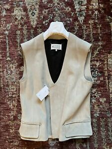 BNWT Maison Margiela SS16 Calf Leather Gilet Size 48 Off White RRP £1380.00