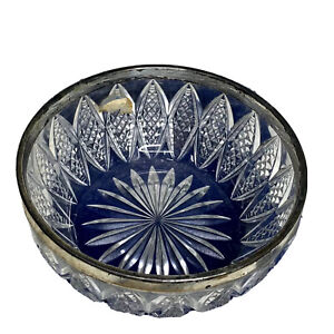 Vintage Cut Lead Crystal Salad Bowl With Silver Plated Rim8.5in x 4.5in HEAVY