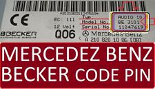 Mercedes Benz Lost Codes Unlock BECKER Radio Audio 10 radio Code Unlock Pin