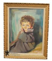 Impressionist Still Life Painting Little Boy Portrait Oil on Canvas Framed 29""