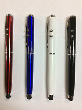 4 Pcs Stylus Touch Screen Pen LED Flashlight Lazer Pointer 4 in 1 iPhone Galaxy