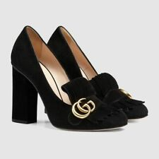 $830 GUCCI Marmont GG Black Suede Fringe Loafer Chunky Block High Heels 34 4 NIB