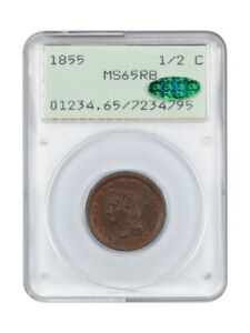 1855 1/2c PCGS/CAC MS65 RB (OGH Rattler Holder) First Generation PCGS Holder
