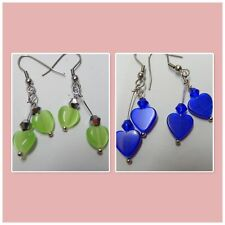 Hearts, Two Heart earrings, lime green or deep blue hearts love you you love me