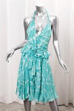 ROBERTO CAVALLI Womens Aqua Silk Print Halter Sleeveless Knee Length Dress 42