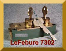 LeFEBURE SAFETY DEPOSIT BOX LOCK with TWO FLAT KEYS (1 DEPOSITOR & 1 GUARD KEY)