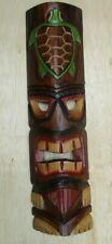 "TIKI MASK TURTLE 20"" WOOD HAWAIIAN ISLAND HOME WALL DECOR TRIBAL POLYNESIAN"