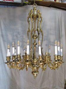 Antique Vintage Bronze  Dore Chandelier  Grand 15 Light Elaborate Large Fixture